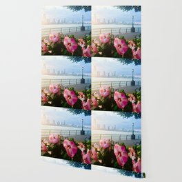 Battery Park New York City Skyline with Pink Hibiscus Flowers Wallpaper