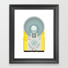VINTAGE CAMERA YELLOW Framed Art Print