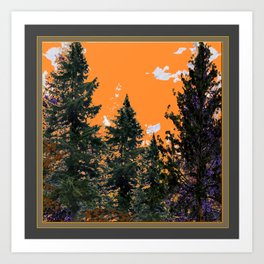 CHARCOAL GREY WESTERN PINE TREES  LANDSCAPE Art Print