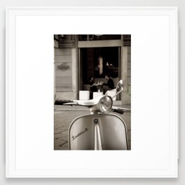 Vespa & breakfast in Milano  Framed Art Print