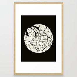 Wismar Karte Rund Dark Framed Art Print
