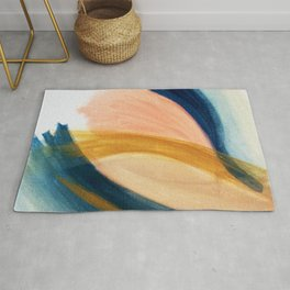 Slow as the Mississippi - Acrylic abstract with pink, blue, and brown Rug