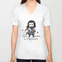 thorin V-neck T-shirts featuring Thorin Chibi by KuroCyou