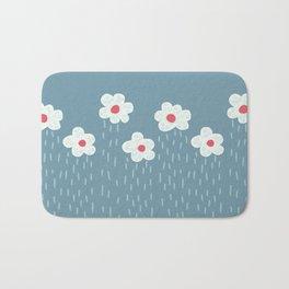 Rainy Flowery Clouds Bath Mat