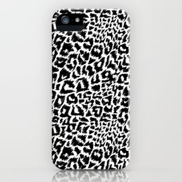 Black and White Sketch Leopard Print iPhone Case