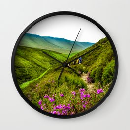 Snakes Pass Flowers. Wall Clock