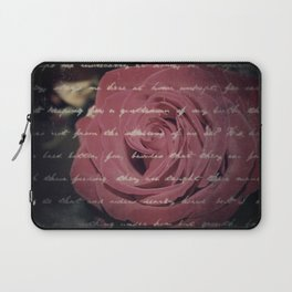 Antique Red Rose with Text Laptop Sleeve