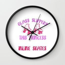 Princess Wears Inline Skates Rollerblading Skater Gift Wall Clock