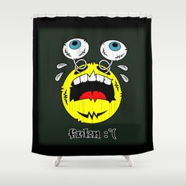 FREAKIN' CRYING EMOTICON! Shower Curtain