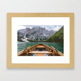 paddling through Lago di Braies Framed Art Print