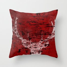 Industrial White Deer Silhouette on Red A313 Throw Pillow