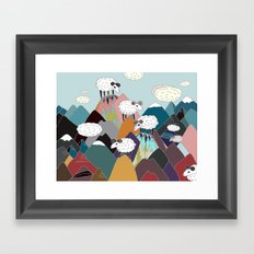 Clouds and Sheep Framed Art Print