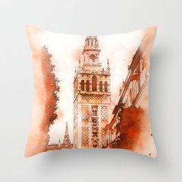 Seville, Giralda Throw Pillow