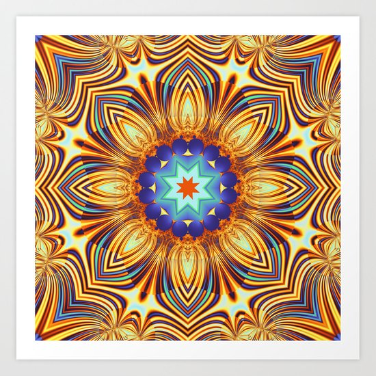 Kaleidoscope abstract with a flower shape and tribal patterns Art Print