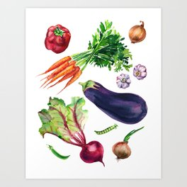 vegetables watercolor Art Print