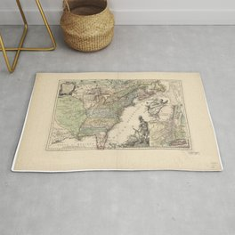Vintage Map Print - French Map of the American War of Independence (1777) Rug