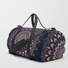 Boho rose gold floral mandala on navy blue watercolor Duffle Bag