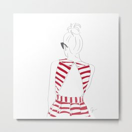 Red & White Striped Fashion Girl Metal Print