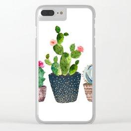 Watercolor cactus trio | hand painted cactus print Clear iPhone Case