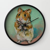 hamster Wall Clocks featuring Hamster by Michael Creese