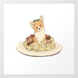 dog in pastabolognese Art Print