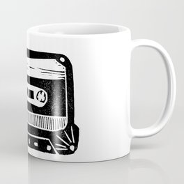 Linocut cassette tape retro analog tape 80s 90s technology gifts Coffee Mug