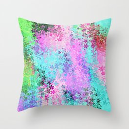 flower pattern abstract background in pink purple blue green Throw Pillow