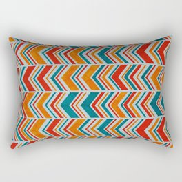 Teal, Red and Goldenrod chevron Rectangular Pillow