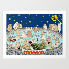 Snow Monkeys in Hot Spa Art Print