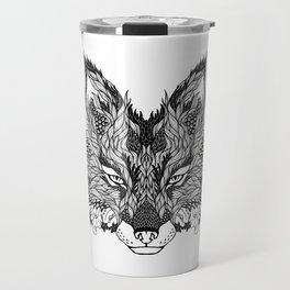 FOX head. psychedelic / zentangle style Travel Mug
