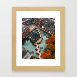 First Snow in Yu Garden, Shanghai Framed Art Print