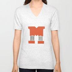 M Lettering Unisex V-Neck
