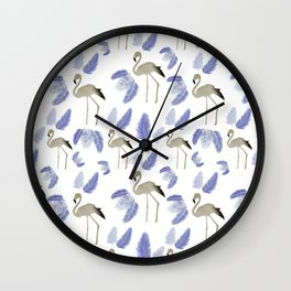 Flamingo on the Go ! Blue leaves pattern Wall Clock