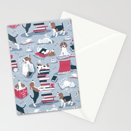 Life is better with books a hot drink and a friend // blue background brown white and blue beagles and cats and red cozy details Stationery Cards