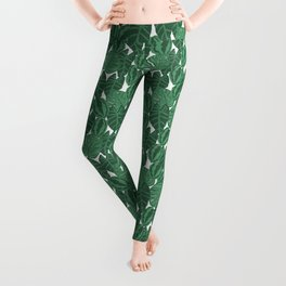 Botanical tropical pattern leaves painting watercolor free spirit boho modern pattern garden house Leggings