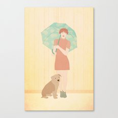 Girl and dog Canvas Print