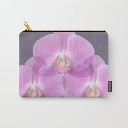 PINK ORCHIDS & GREY FLORAL ABSTRACT ART Carry-All Pouch