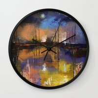 fireworks Wall Clocks featuring Fireworks by Michael Creese