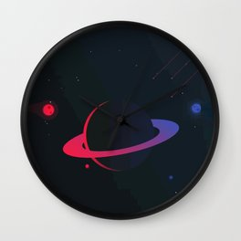 Blue and red planet Wall Clock