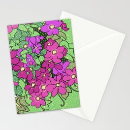 Swirling vines of Clematis in shades of pink and green Stationery Cards