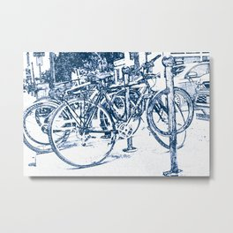 Blue Bicycles Metal Print