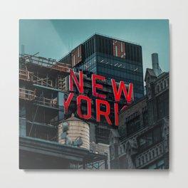 New York red neon Metal Print
