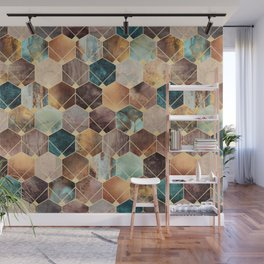 Natural Hexagons And Diamonds Wall Mural