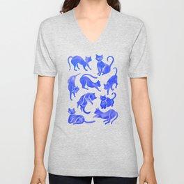 Cat Positions – Blue Palette Unisex V-Neck