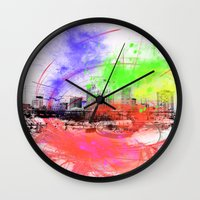 skyline Wall Clocks featuring Skyline by Fine2art
