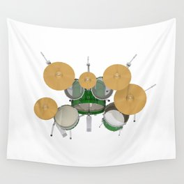 Green Drum Kit Wall Tapestry