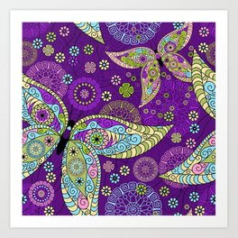 Colorful Butterflies and Flowers V5 Art Print