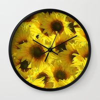sunflowers Wall Clocks featuring Sunflowers by LLL Creations