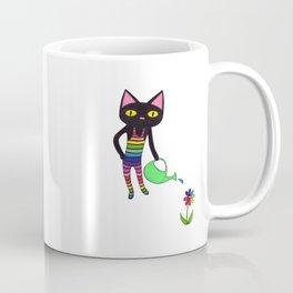 Black Cat Wearing Rainbow Unitard While Gardening Coffee Mug