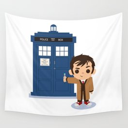Cute 10 and Tardis Wall Tapestry